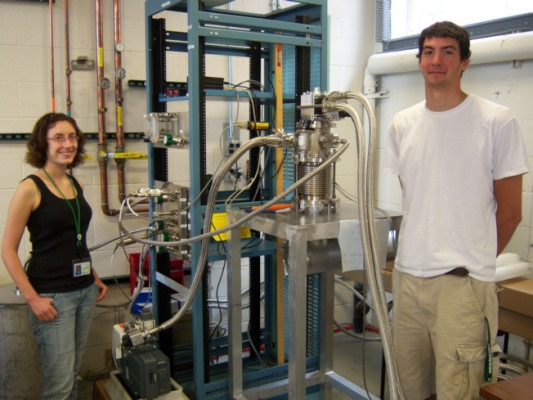 Nick Ferrante '12 with the Ursinus College Liquid Hydrogen Target at the National Superconducting Cyclotron Laboratory.
