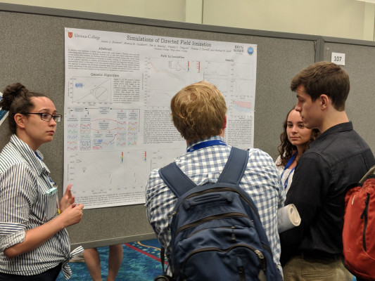 Zoe Rowley, Bianca Gualtieri, and Jason Bennett answer questions about their research at DAMOP 2018 in Ft. Lauderdale, FL.