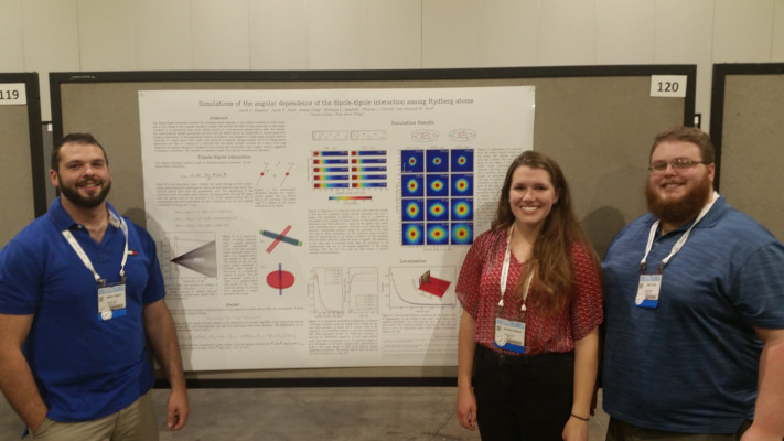 Jacob Bigelow, Veronica Sanford, and Jake Paul present their research at DAMOP 2016 in Columbus, OH.