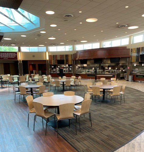The Upper Wismer dining area has been reworked for physical distancing.