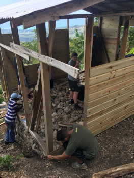 Bonners helping to build a house in Jamaica, March 2019