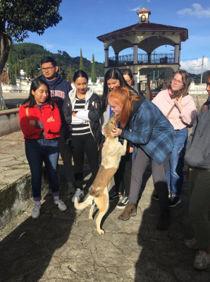 Students with a dog in Mexico