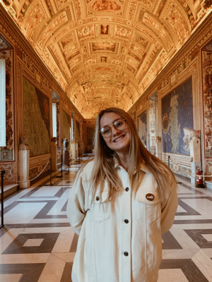 Student in the Vatican Museums in Italy