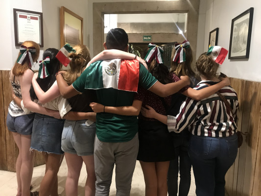 Students celebrating Independence Day in Mexico